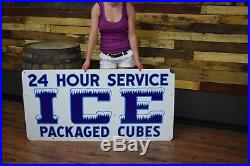 Porcelain rare ICE graphic sign 1940's Truck Americana Gas Oil Station Hwy 66