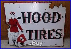 Porcelain sign Hood Tires original sign gas oil