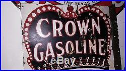 Porcelain sign crown gasoline rare flange standard oil company