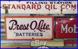 Porcelain sign prest-o-lite prestolite batterys gas oil sinclair texaco standard