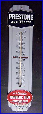 Prestone Anti-Freeze Large Themometer Porcelain Sign Exclusive Magnetic Film N R