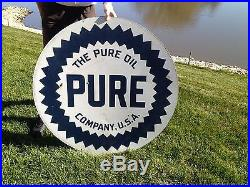 Pure Oil Company 42 Double Sided Porcelain Sign