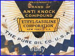 Pure Purol Gasoline 30 2-sided Porcelain Sign Gas Oil Car Ethyl Gasoline