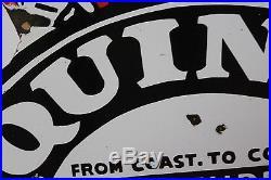 Quincy Gasoline Man Independent Oil Porcelain Sign Gas Mobil