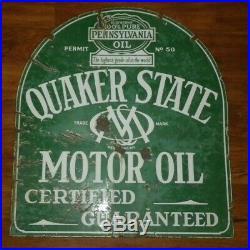 Quaker State Motor Oil Gas Tombstone 2 Sided Swinger Sign Porcelain Enamel