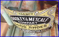 RARE 1890s BRADLEY & METCALF CO Porcelain Curved Shoe Sign