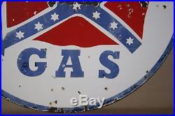RARE 1930's 30 2-sided REBAL GAS GASOLINE PORCELAIN SIGN OIL STATION TEXAS