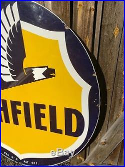 RARE 1953 6' Richfield Gasoline Sign. Porcelain. Double Sided. Clean