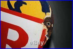 Rare Bear Wheel Aligning Porcelain Sign Axle Frame Service Die Cut Mobil Texaco