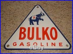 RARE Bulko pump sign plaque porcelain triangle gasoline Very rare