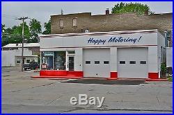 RARE Esso HAPPY MOTORING! Blue Porcelain Gas Station Exterior Sign 2' x 11' ft