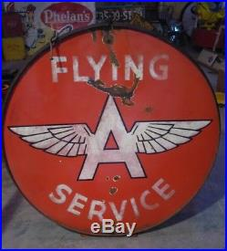 RARE! FLYING A Gas Station double sided PORCELAIN 48 Sign with Original ring