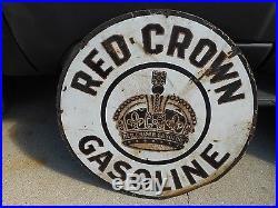 RARE Nebraska Variation Standard Red Crown Gasoline Porcelain Advertising SIGN