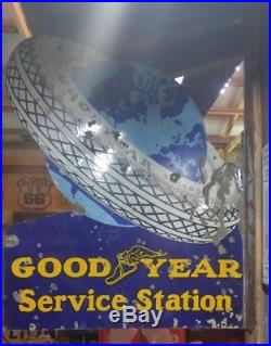 RARE ORIGINAL GOODYEAR SERVICE STATION PORCELAIN FLANGE Auto TIRE Gas Oil SIGN