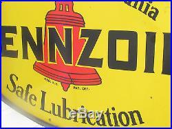 Rare Original Pennzoil Porcelain Lollipop Gas Station Oil Sign