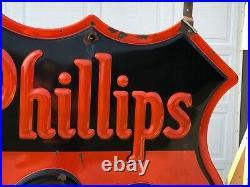 RARE ORIGINAL Vintage PHILLIPS 66 Double Sided PORCELAIN NEON Sign Gas Oil OLD