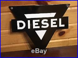 RARE OriGiNaL VinTaGE BLACK CONOCO DIESEL Pump Plate OIL Sign PORCELAIN Gas OLD