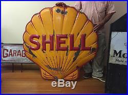 Rare Shell Oil / Gas Sign Porcelain True Convex Clamshell