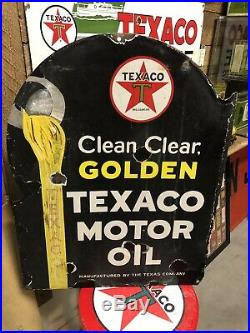 RARE TEXACO 1920/30s PORCELAIN FLANGE SIGN GUARANTEED ORIGINAL
