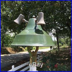 Rare Vintage Original Green Porcelain Gas Station Pump Island Light Sign 4 Bulb