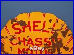 RARE Vintage 2 Sided Shell Gas & Oil Chasis & Motor Lubricant Porcelain 24 Sign