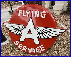 RARE Vintage FLYING A SERVICE Embossed Porcelain Sign 62X48