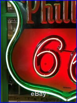 RARE Vintage ORIGINAL Federal PHILLIPS 66 NEON PORCELAIN 48 Sign Gas Oil NICE
