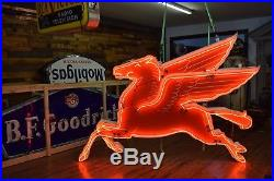 REAL MOBIL Oil Porcelain Pegasus Neon Sign 10ft Gas Oil Station 50's Only Orig