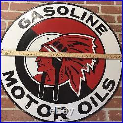 RED INDIAN GASOLINE & MOTOR OILS 2 SIDED PORCELAIN ISLAND Service SIGN