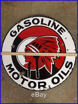 RED INDIAN OIL & GASOLINE 30 Diameter Double Sided Porcelain SERVICE SIGN