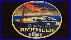 RICHFIELD Gasoline & Motor Oil Porcelain Gas Pump Plate Sign Station Lubester