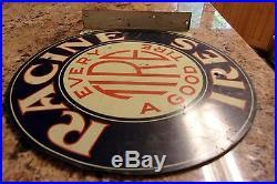 Racine Tire Flange Sign Vintage Porcelain Gas Sign Pump Oil Service Station RARE