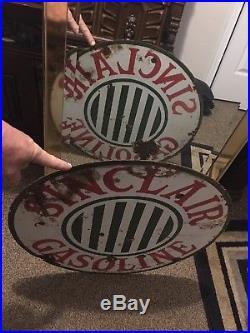 Rare 1920s Original 24 sinclair gasoline signs vintage double-sided porcelain