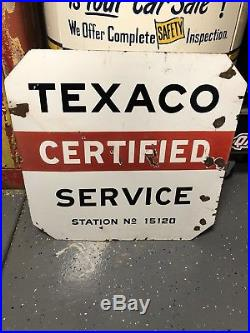 Rare 1930 Texaco Certified Service Curbside Sign. 30inx30in. Porcelain