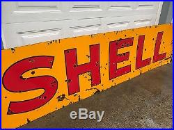 Rare 1930's Double Sided Porcelain Shell Gas Dealer Sign