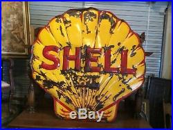 Rare! 1930s Shell Gasoline 3-D Embossed 48 Inch Clam Shell Porcelain Sign. Neon