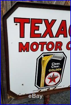 Rare 1930s Texaco Motor Oil Lollipop Sign and Stand. Porcelain. All Original