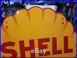 Rare 1937 Vintage, Investment Quality Double Sided Shell Porcelain sign, large
