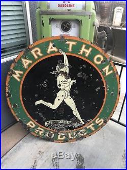 Rare 48 Inch Marathon Double Sided Porcelain Sign