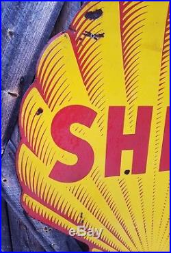 Rare 48in. Shell Sign. Double sided. Porcelain