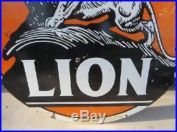 Rare 5 feet round double sided original Lion on the Rock porcelain Oil sign