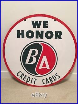Rare BA 30 DSP Credit Card Porcelain Sign. British American Oil