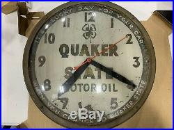 Rare Early Quaker State Gas And Oil Clock Original Vintage, Not Porcelain Sign