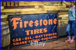 Rare Firestone 1930's Tires Batteries Gas Oil Station Service 6' Porcelain Sign