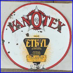 Rare Hard to find 30 Porcelain Kanotex Sign With Ethyl Original Gas Kan-o-tex