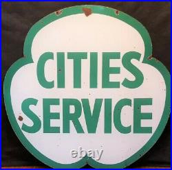 Rare Huge 5 1/2 Foot Porcelain Double Sided Shamrock Cities Service Gas Sign