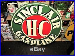Rare Large 30 Sinclair H-c Gasoline Oil Company Double Sided Porcelain Sign
