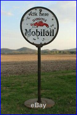 Rare MOBILOIL GARGOYLE PORCELAIN DOUBLE SIDED CURB SIGN With ORIGINAL Stand