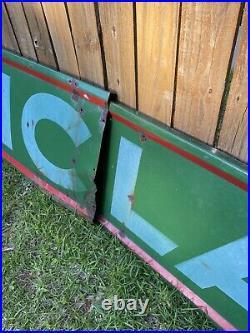 Rare Original 14 Ft Sinclair Gas Oil Porcelain Original Sign 2 Piece Bulk Oil