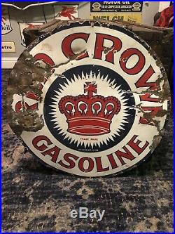 Rare Original 1915 RED CROWN GASOLINE Single SIDED SIGN 24 Porcelain Sign